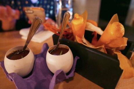 Chicory Flan with Duck Egg Yold (Empellon) Orange Sorbet with Sal de Gusanos (Empellon)