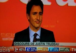 Justin Trudeau prononçait son discours de vainqueur hier soir devant les TV du Canada