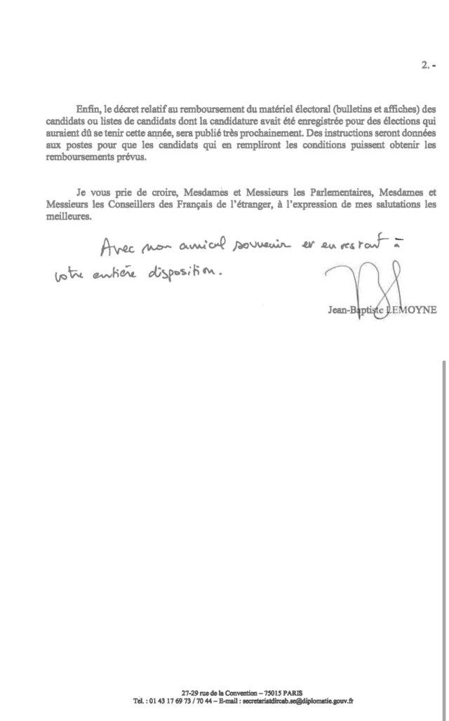 Lettre envoyée par Jean-Baptiste Lemoyne aux parlementaires et conseillers des Français de l'étranger.