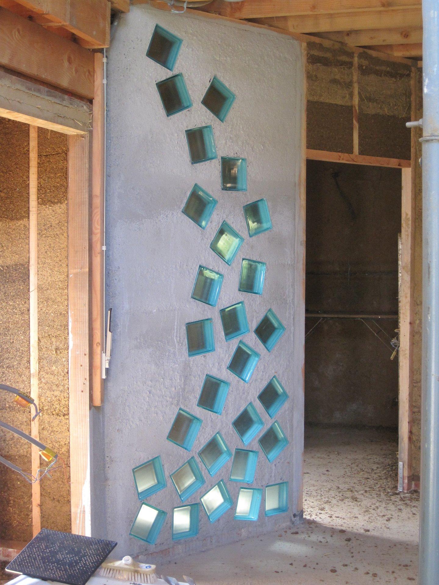 Cloison chaux  briques de verre  Autoconstruction  Louvignies