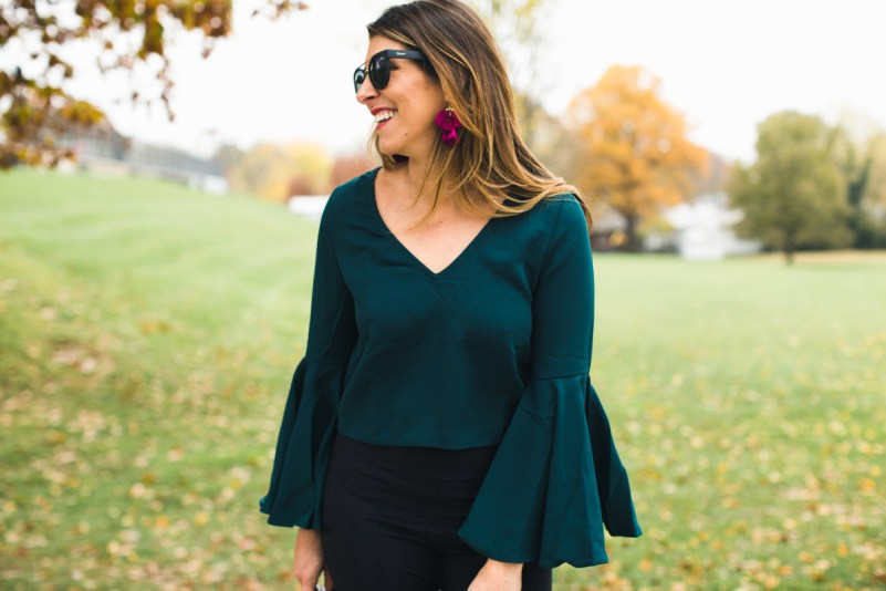 Emerald Bell Sleeve Top * TJ Maxx * Holiday Party Outfit Ideas