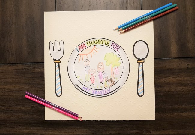 Kids Thanksgiving Placemat (Free Printable!)