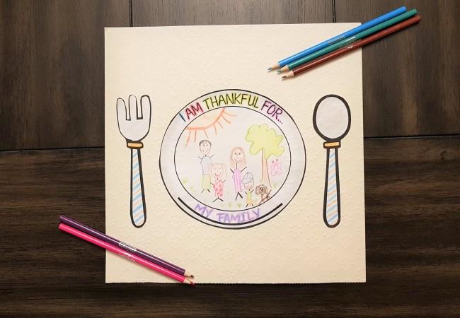 Kids Thanksgiving Placemat (Free Printable!)