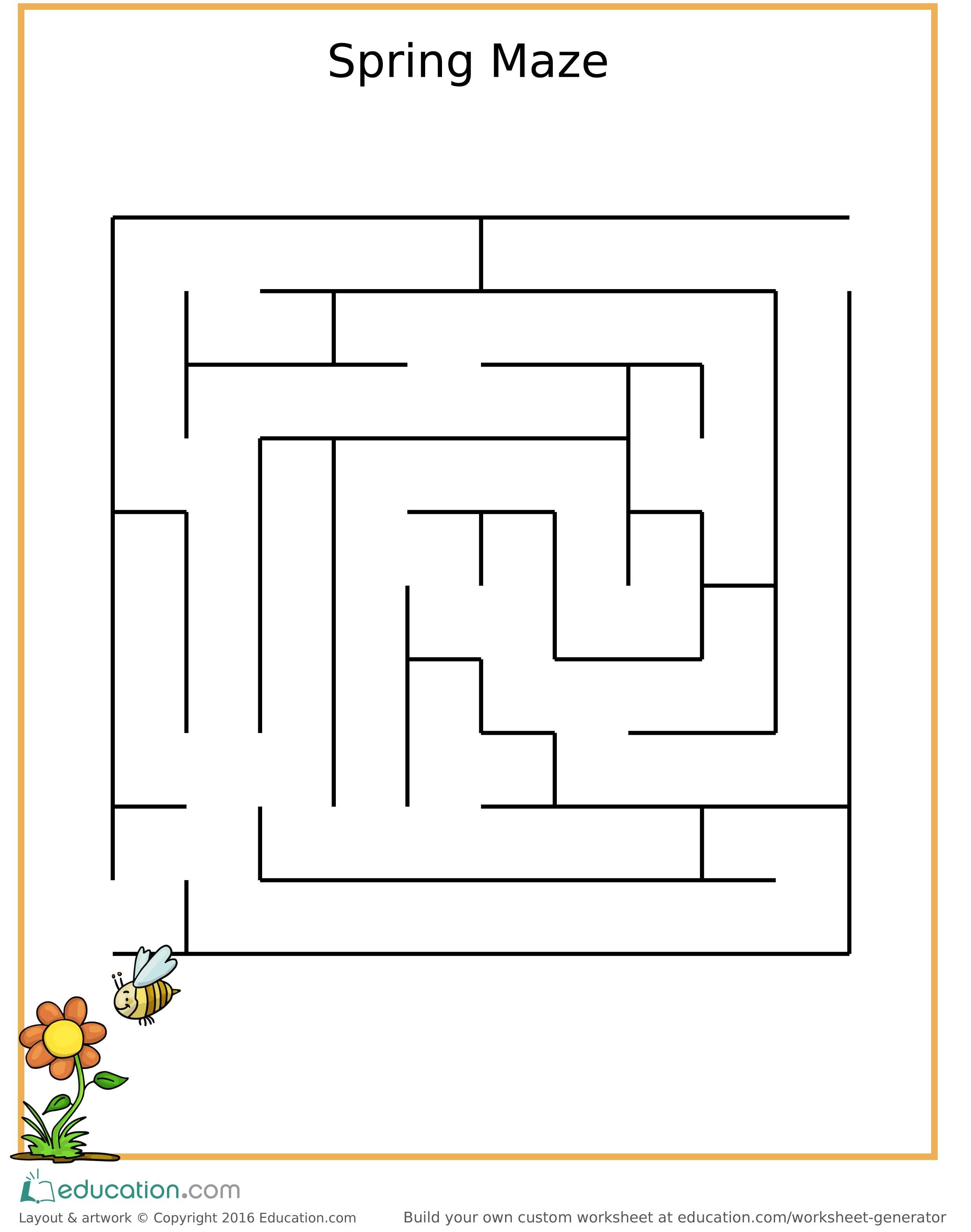 Fun Spring Maze For Children Free Printable