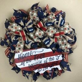 Pratiotic Handmade 4th Of July Wreath Ideas 29