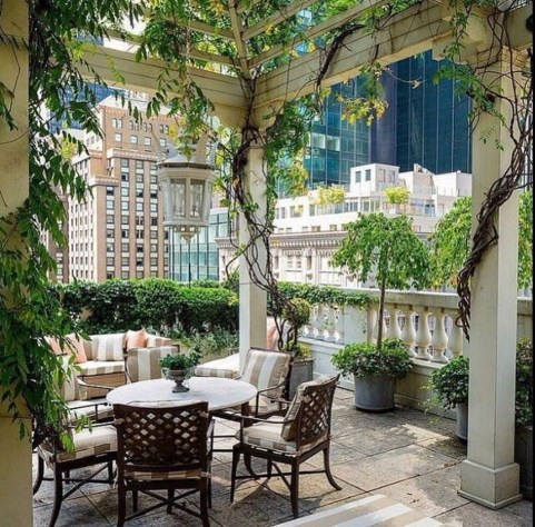 Stunning Balcony Decoration Ideas With Seating Areas 24