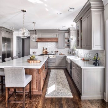 Stunning Wood Floor Ideas To Beautify Your Kitchen Room 30
