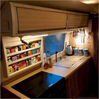 Best RV Kitchen Storage Ideas For Cozy Cook When The Camping 25