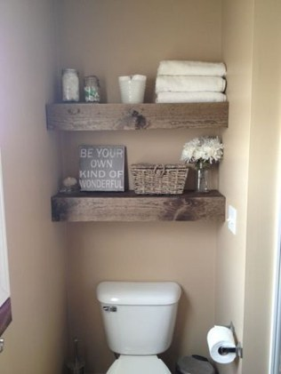 Inspiring Bathroom Decoration Ideas With Wooden Storage 33