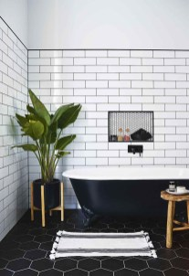 Impressive Black Floor Tiles Design Ideas For Modern Bathroom 04