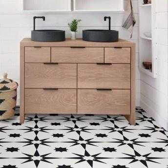 Impressive Black Floor Tiles Design Ideas For Modern Bathroom 09