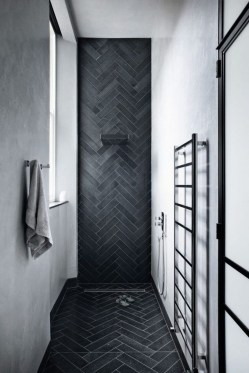 Impressive Black Floor Tiles Design Ideas For Modern Bathroom 15