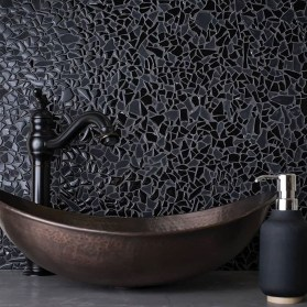 Impressive Black Floor Tiles Design Ideas For Modern Bathroom 30