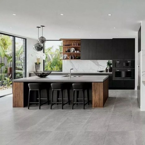 Delicate Black Kitchen Interior Design Ideas For Kitchen To Have Asap 47
