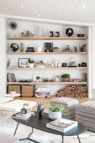 Easy And Simple Shelves Decoration Ideas For Living Room Storage 29