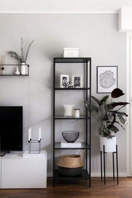 Easy And Simple Shelves Decoration Ideas For Living Room Storage 43
