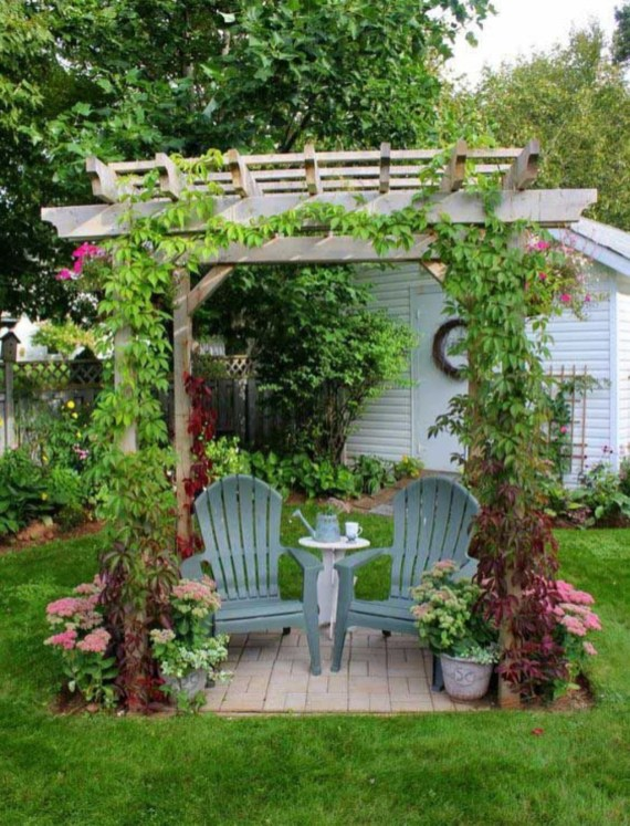 Comfy Spring Backyard Ideas With A Seating Area That Make You Feel Relax 40