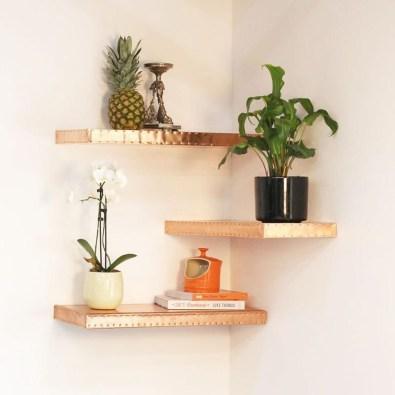 Creative Floating Corner Shelves For Living Room Organization Ideas 07