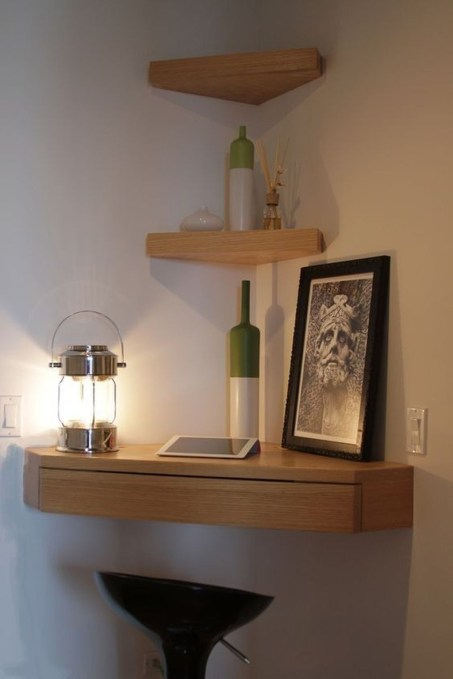 Creative Floating Corner Shelves For Living Room Organization Ideas 32