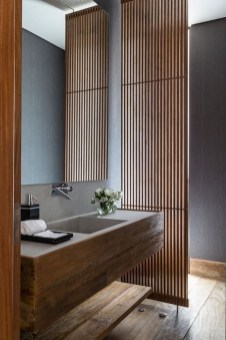 Unordinary Bathroom Design Ideas With Stunning Wood Shades 37