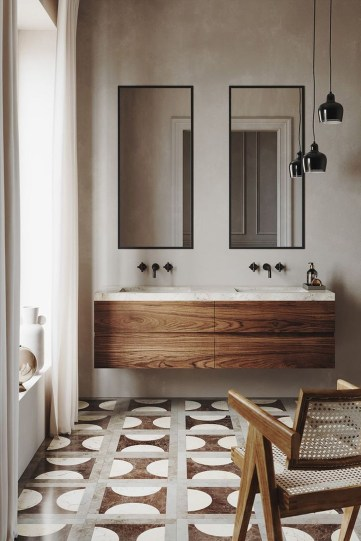 Unordinary Bathroom Design Ideas With Stunning Wood Shades 46