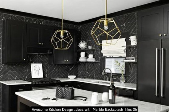 Awesome Kitchen Design Ideas With Marble Backsplash Tiles 06