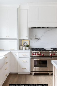 Awesome Kitchen Design Ideas With Marble Backsplash Tiles 23