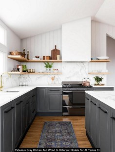 Fabulous Gray Kitchen And Wood In Different Models For All Tastes 01