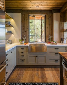 Fabulous Gray Kitchen And Wood In Different Models For All Tastes 08