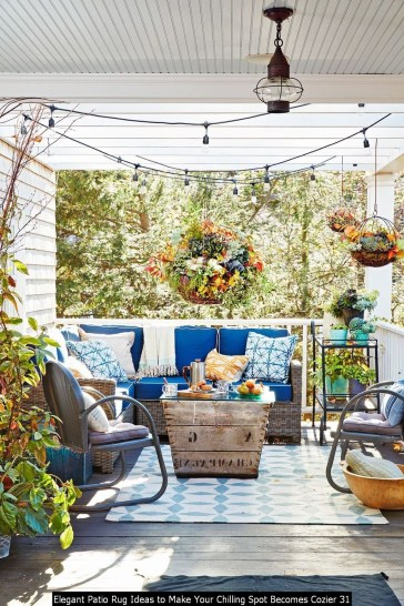 Elegant Patio Rug Ideas To Make Your Chilling Spot Becomes Cozier 31