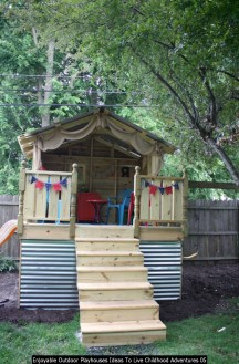 Enjoyable Outdoor Playhouses Ideas To Live Childhood Adventures 05