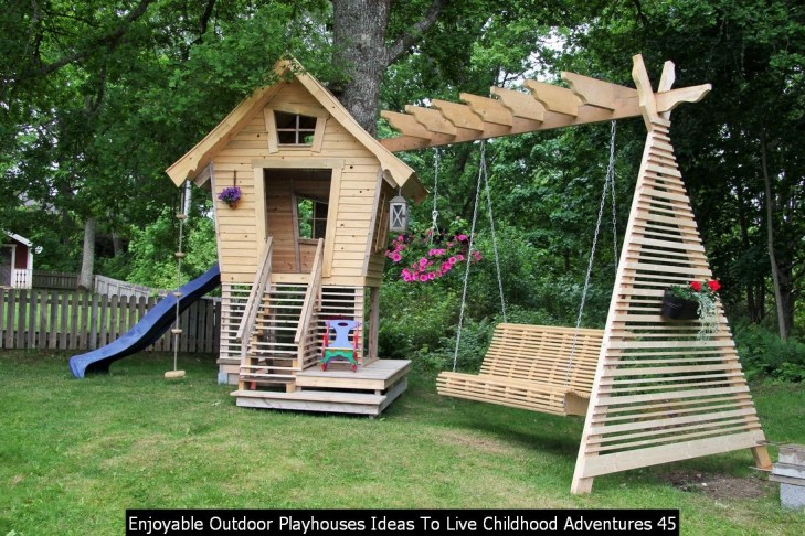 Enjoyable Outdoor Playhouses Ideas To Live Childhood Adventures 45