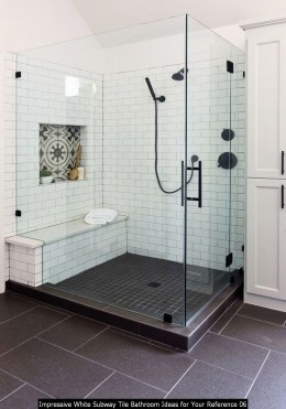 Impressive White Subway Tile Bathroom Ideas For Your Reference 06