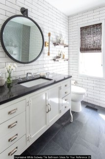 Impressive White Subway Tile Bathroom Ideas For Your Reference 25