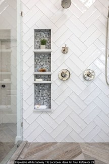 Impressive White Subway Tile Bathroom Ideas For Your Reference 28