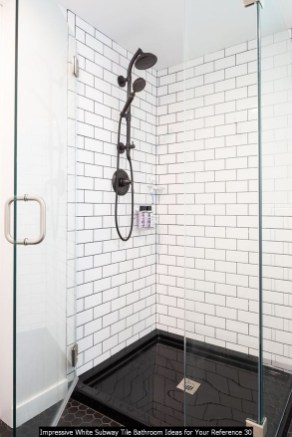 Impressive White Subway Tile Bathroom Ideas For Your Reference 30