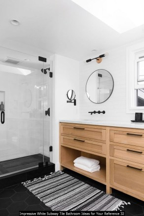 Impressive White Subway Tile Bathroom Ideas For Your Reference 32