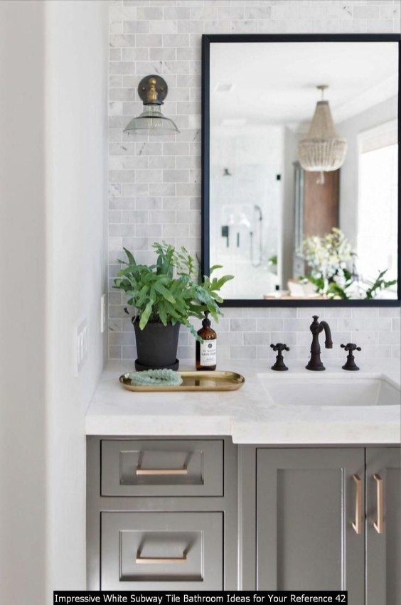 Impressive White Subway Tile Bathroom Ideas For Your Reference 42