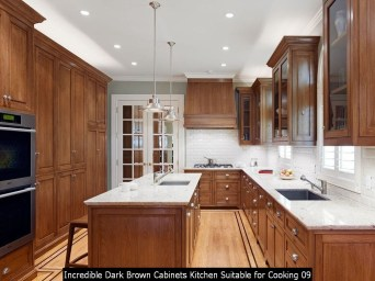 Incredible Dark Brown Cabinets Kitchen Suitable For Cooking 09