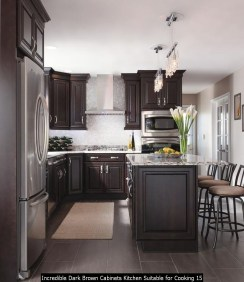 Incredible Dark Brown Cabinets Kitchen Suitable For Cooking 15