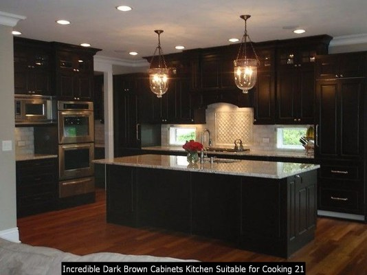 Incredible Dark Brown Cabinets Kitchen Suitable For Cooking 21