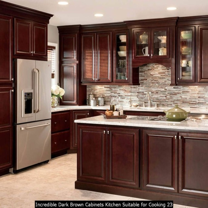 Incredible Dark Brown Cabinets Kitchen Suitable For Cooking 23