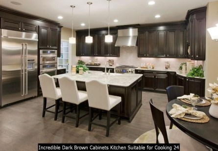 Incredible Dark Brown Cabinets Kitchen Suitable For Cooking 24