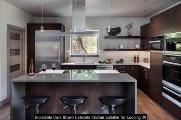 Incredible Dark Brown Cabinets Kitchen Suitable For Cooking 29
