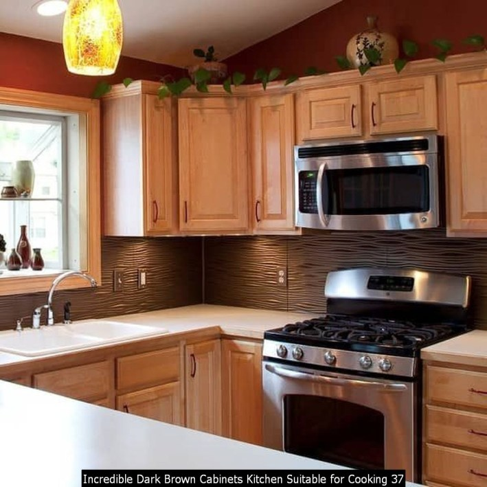 Incredible Dark Brown Cabinets Kitchen Suitable For Cooking 37