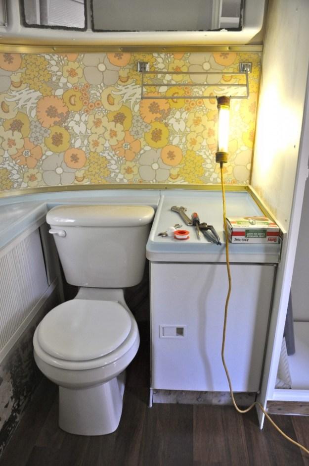 bathroom in airstream