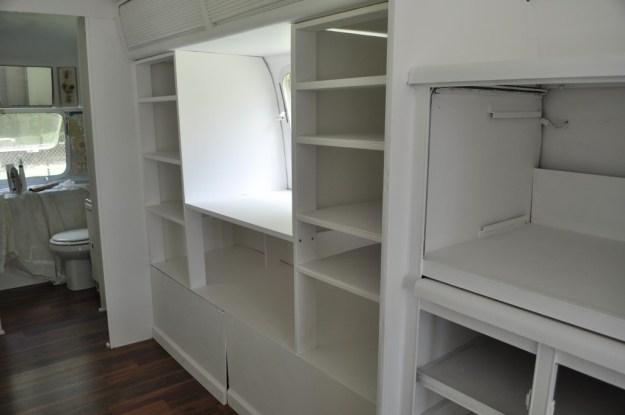book shelves in an airstream