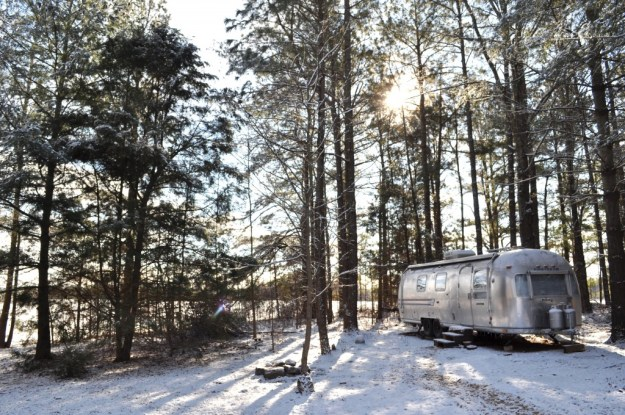 staying warm in an airstream trailer