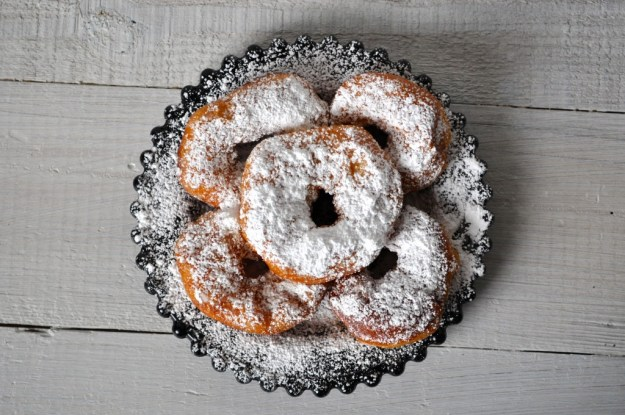 Canned Biscuit Doughnuts with Powdered Sugar