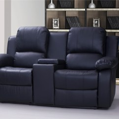 Modena 2 Seater Reclining Leather Sofa Cup Holder Valencia Recliner With Drinks